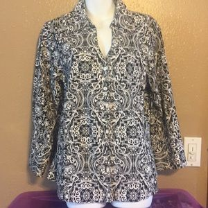 Coldwater Creek Black And white cotton shirt, L
